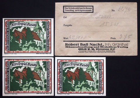 "BOSAU 1921 ""Church"" complete series + RARE Robert Ball envelope! German Notgeld"