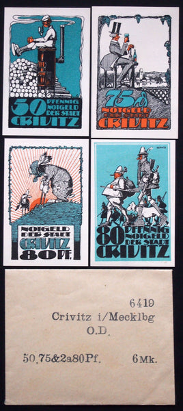 "CRIVITZ 1922 ""Wounded Rabbit"" complete + RARE Robert Ball envelope! German Notgeld"