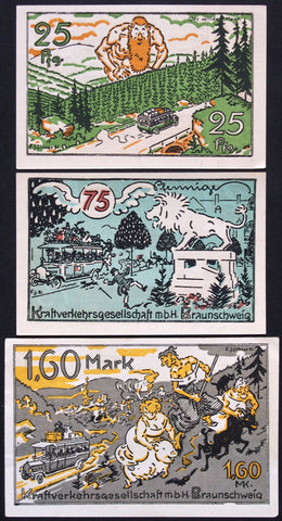 "BRAUNSCHWEIG 1921 ""Witches on Broomstick/Pig/Goat"" complete Notgeld Germany"