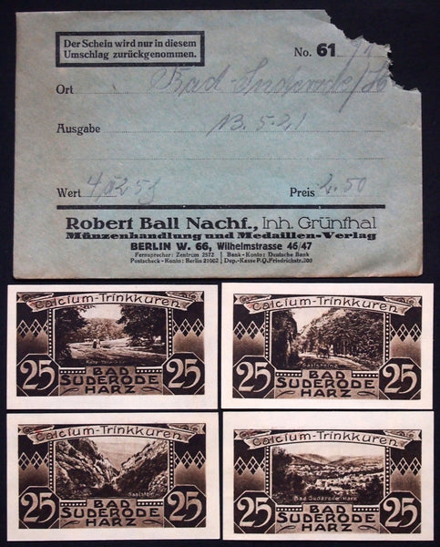 BAD SUDERODE 1921 4x25 Pf complete + RARE Robert Ball envelope! German Notgeld
