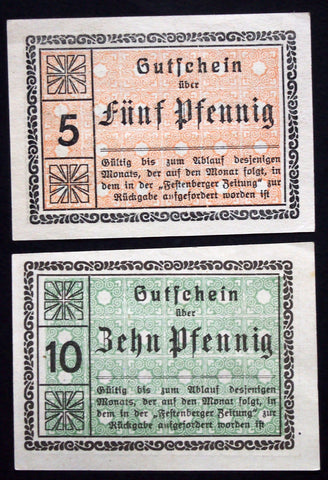 "FESTENBERG ""Colonial Goods Dealer Cooperative"" rare 5+10 Pf Schlesien German Notgeld"
