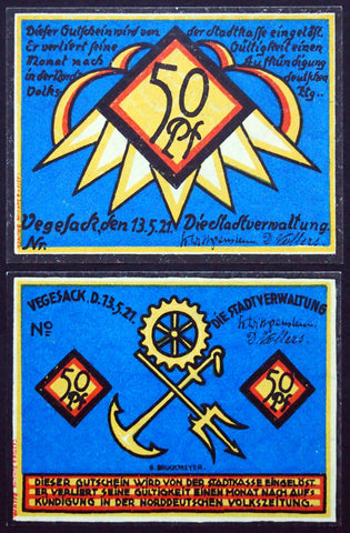 "VEGESACK 1921 *COMPLETE SPECIMEN SET* ""Sailor/Nautical Themes"" German Notgeld"
