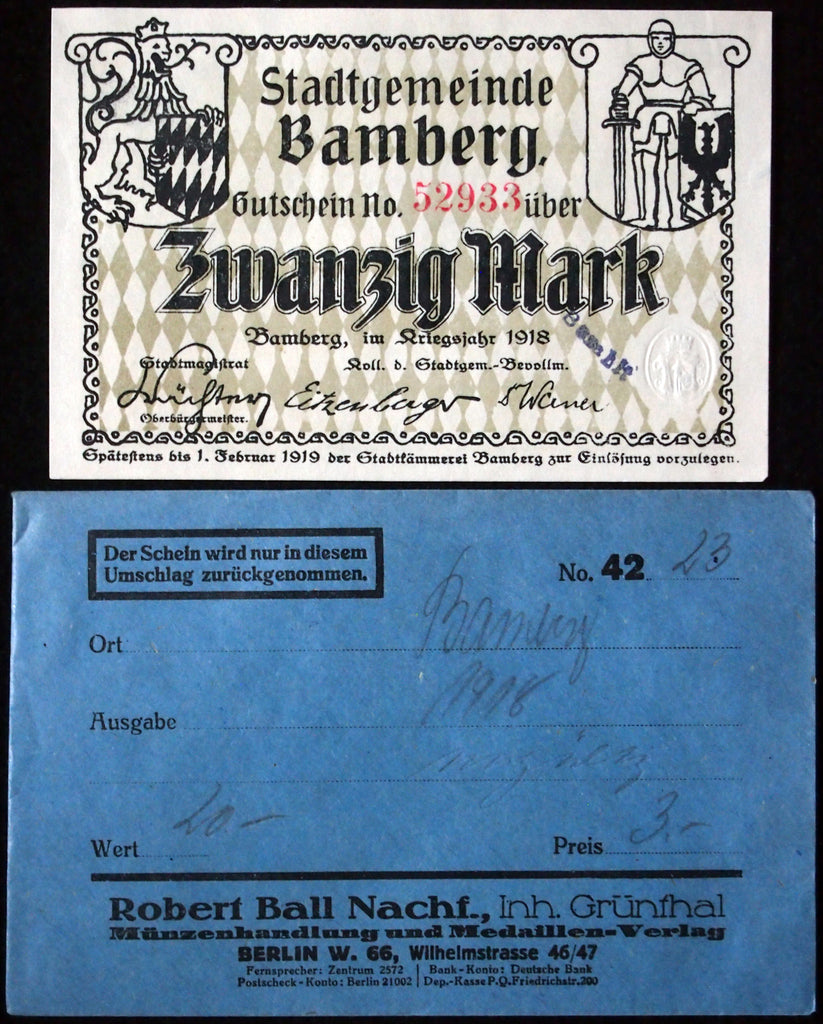 BAMBERG 1918 20 Mark Grossnotgeld in RARE Robert Ball Envelope! German Notgeld
