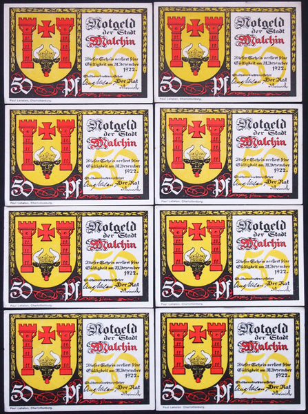 "MALCHIN 1922 ""Bull Sticking Tongue Out"" complete series German Notgeld"
