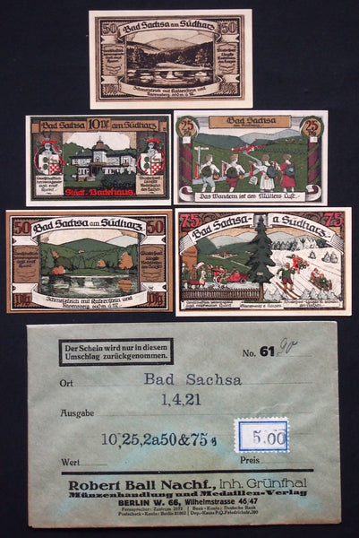 "BAD SACHSA 1921 ""Skiing/Guitars"" complete in RARE Robert Ball envelope! German Notgeld"
