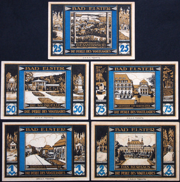 "BAD ELSTER 1922 ""City Views"" complete series German Notgeld"