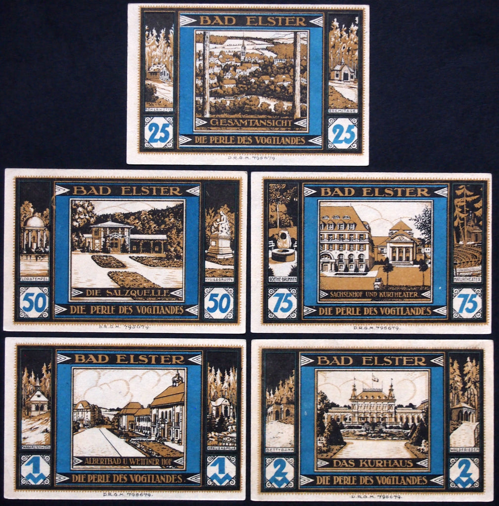 "BAD ELSTER 1922 ""City Views"" complete Series B German Notgeld"