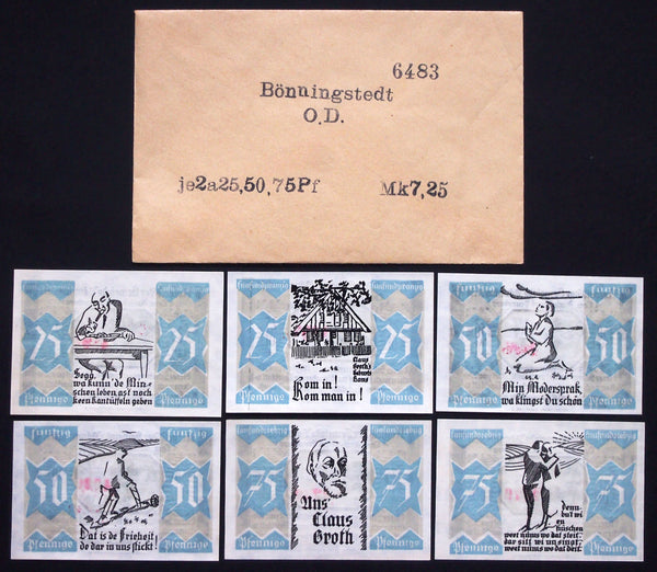 BÖNNINGSTEDT 1921 complete set + RARE Robert Ball envelope! Notgeld Germany