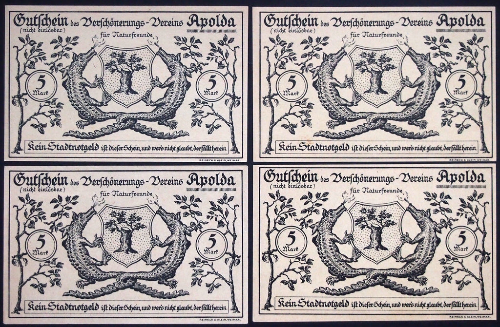 "APOLDA ""City Beautification Assoc."" *XX-RARE* complete series German Notgeld"