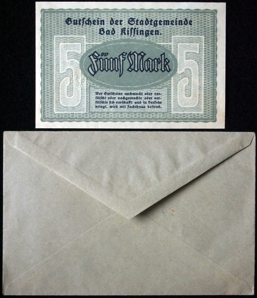 BAD KISSINGEN 1918 5 Mark Grossnotgeld in RARE Robert Ball Envelope! German Notgeld
