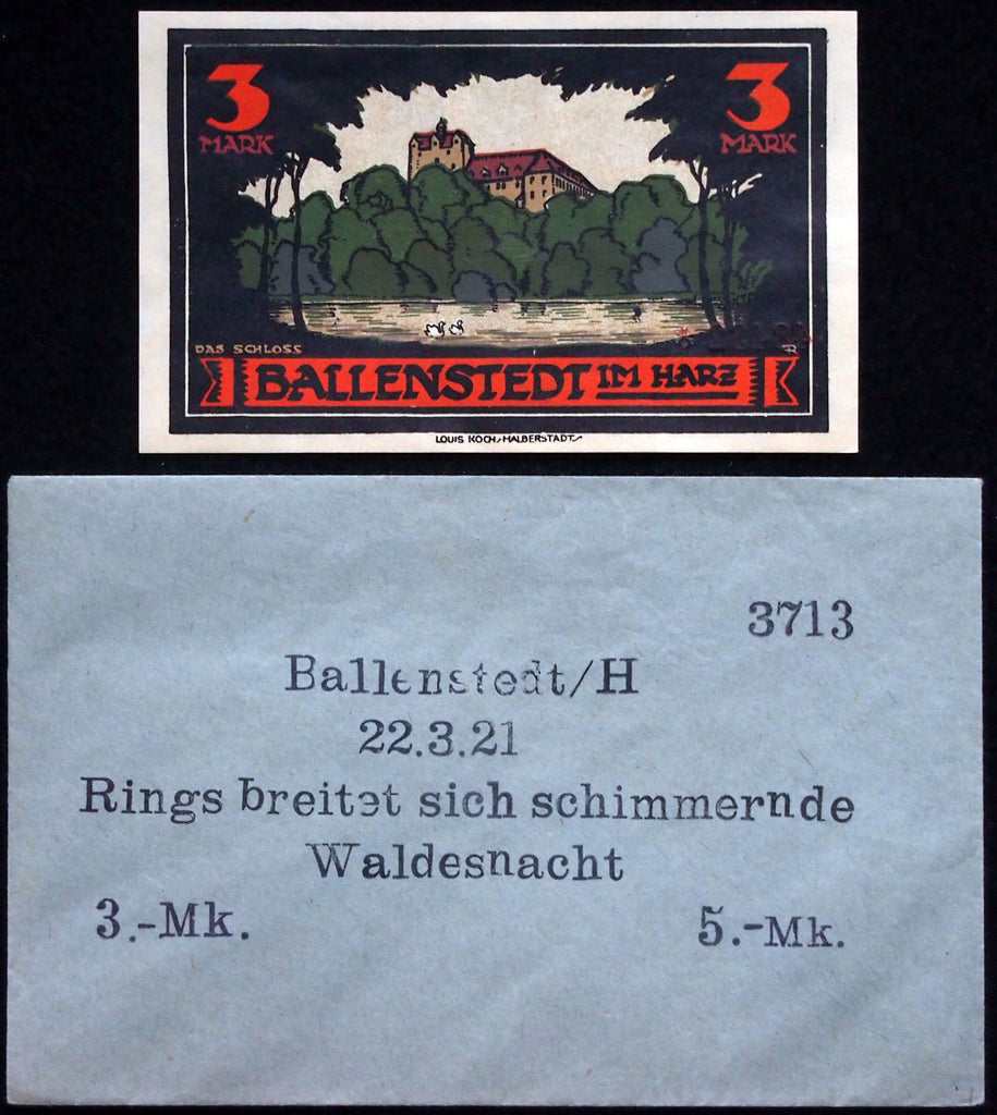 "BALLENSTEDT 1920 ""Rings breitet sich"" 3mk in RARE Robert Ball Envelope! German Notgeld"