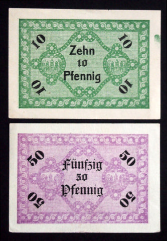 "FESTENBERG ""Colonial Goods Dealer Cooperative"" rare 10+50 Pf Schlesien German Notgeld"
