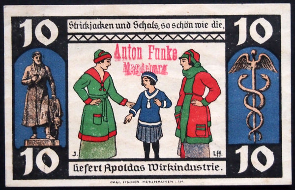"APOLDA/MAGDEBURG 1921 *UNCATALOGED* ""Anton Funke"" overprint!! JUDAICA German Notgeld"