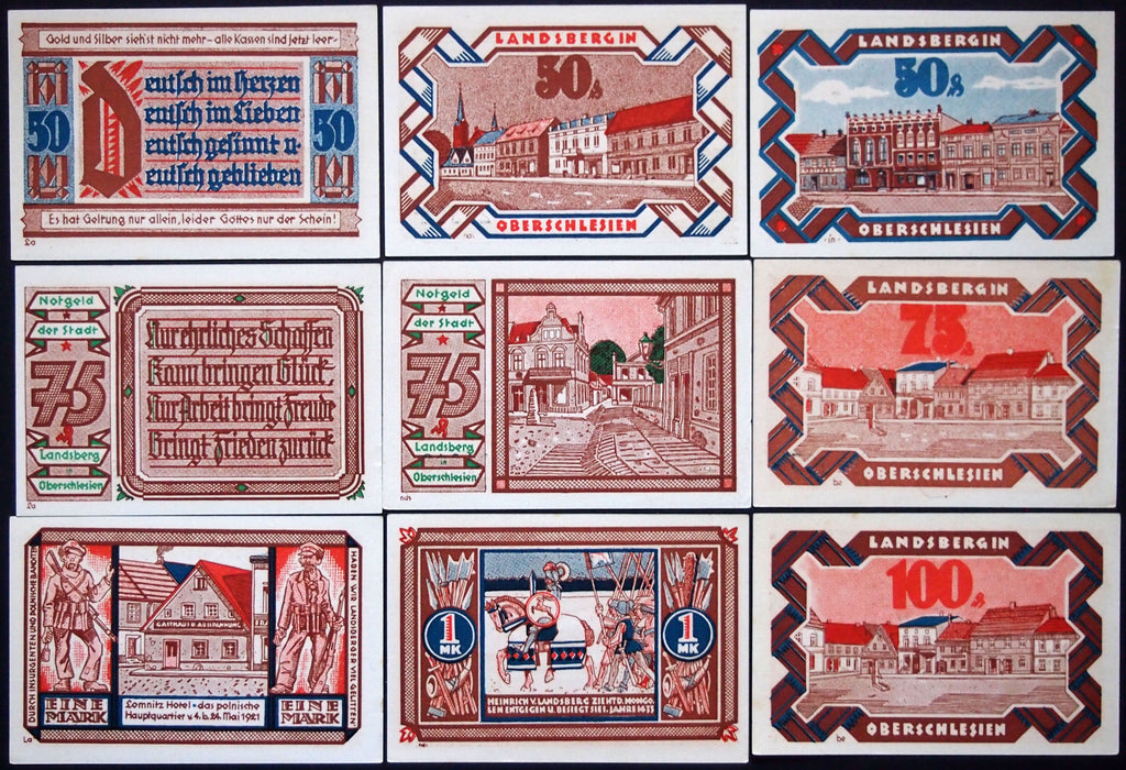 "LANDSBERG 1921 complete ""March 20th"" series German Notgeld Upper Silesia now Poland"
