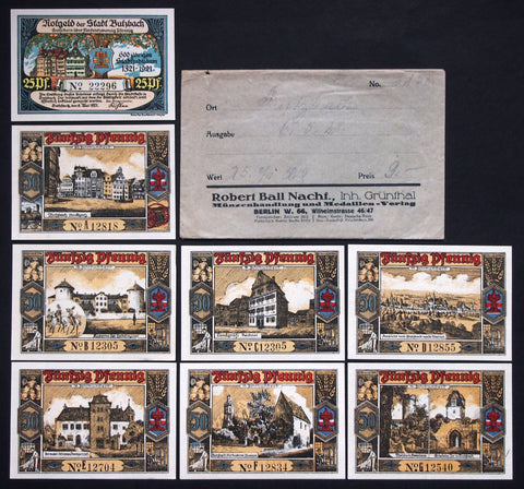 "BUTZBACH 1921 ""Tracht/City Views"" complete in RARE Robert Ball envelope! German Notgeld"
