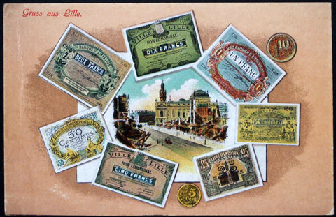 LILLE FRANCE French WWI German Occupation Notgeld Postcard ca. 1916