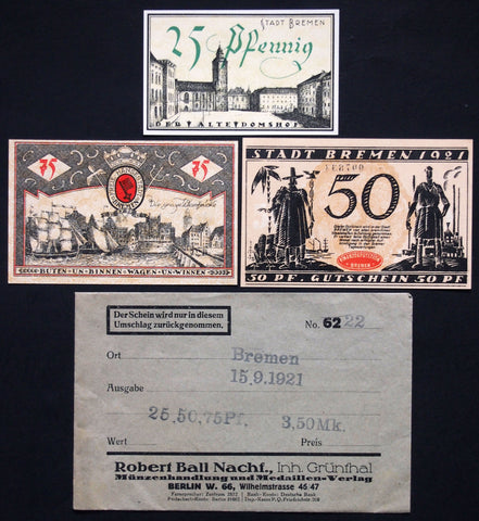 "BREMEN 1921 ""Colonial/Shipping Themes"" complete in RARE Robert Ball envelope! Germany Notgeld"