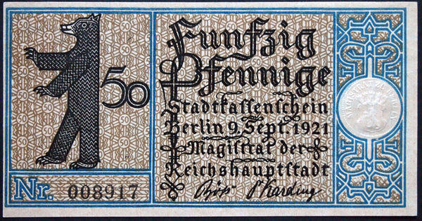 "BERLIN 1921 slight error note, off-center cut #10 ""Zehlendorf"" 50 Pf German Notgeld"
