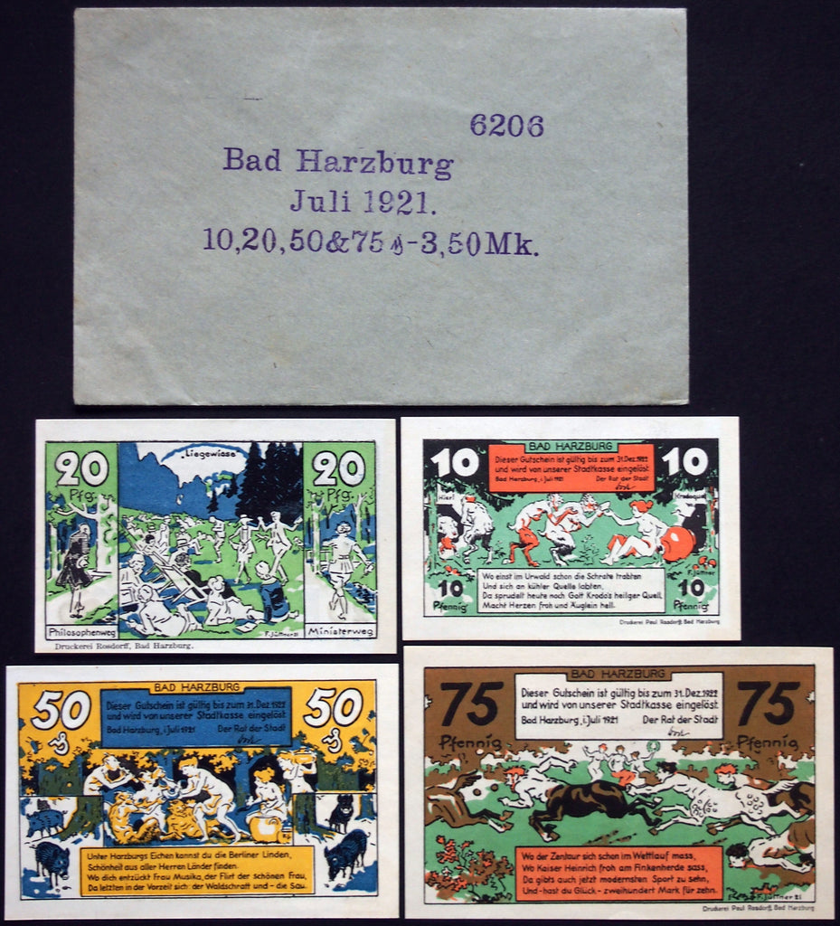 BAD HARZBURG 1921 complete series in RARE Robert Ball Envelope! German Notgeld