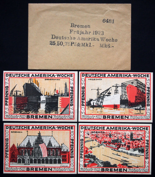 "BREMEN 1921 ""German-America Week"" series A in RARE Robert Ball envelope! Germany Notgeld"