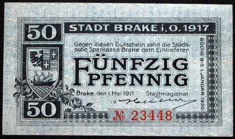 BRAKE 1917 50 Pf rarer circulating Notgeld Germany