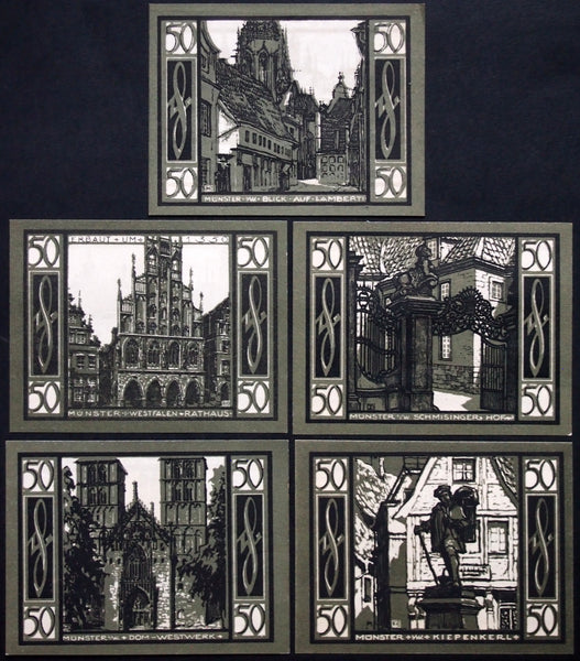 "MÜNSTER 1921 ""City Views, Architecture"" complete Notgeld Germany"
