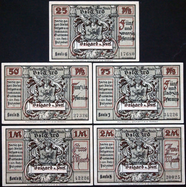 "BELGARD ""Death's Head Riders in Danzig, von Mackensen series"" Totenkopfreiter complete series Germany Notgeld today Bialogard, Poland"