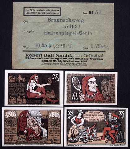 "BRAUNSCHWEIG 1921 ""Till Eulenspiegel"" complete in RARE Robert Ball envelope! German Notgeld"