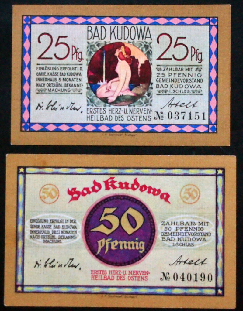 BAD KUDOWA 1921 Nude bather, healing bath Germany Notgeld complete today Poland