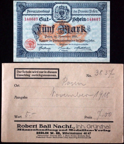 POSEN 1918 XX-RARE 5 Mark AU/UNC in RARE Robert Ball Envelope!