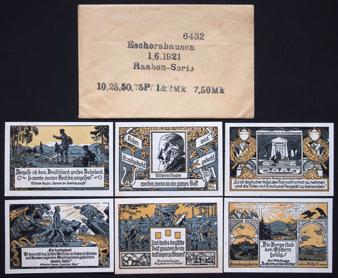 "ESCHERSHAUSEN 1921 ""Wilhelm Raabe"" complete in RARE Robert Ball envelope! Germany Notgeld"