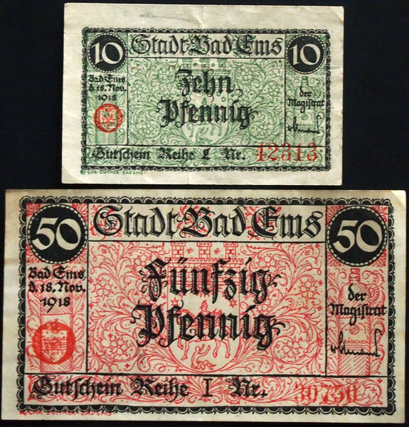 BAD EMS 1918 complete set w/red overprint circulating Notgeld Germany