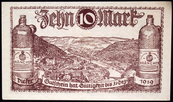 BAD EMS 1918/1922 10 Mark Grossnotgeld German Notgeld Banknote