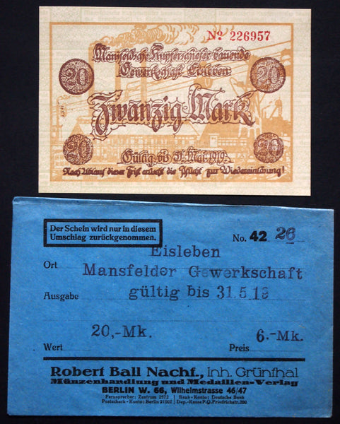 "EISLEBEN 1918 ""Mansfelder Copper Shale"" 20mk Grossnotgeld in RARE Robert Ball envelope! German Notgeld"