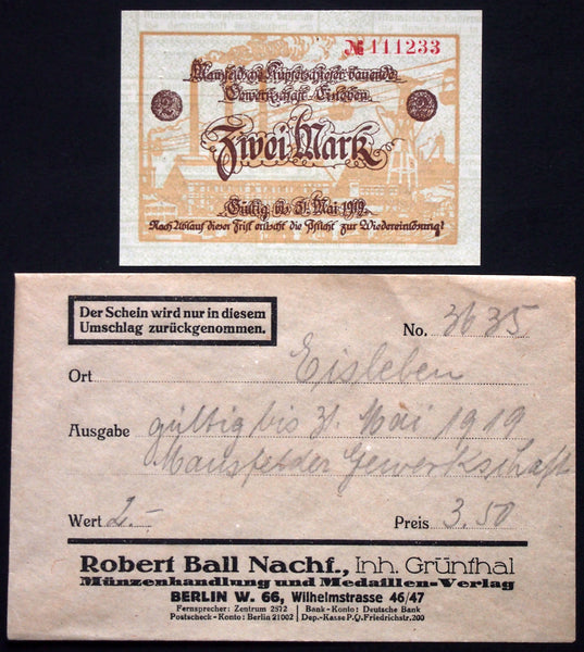 "EISLEBEN 1918 ""Mansfelder Copper Shale"" 2mk Grossnotgeld in RARE Robert Ball envelope! German Notgeld"