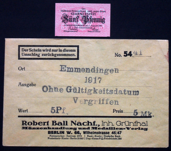 EMMENDINGEN 1917 5 Pf in 1920s Robert Ball dealer envelope! German Notgeld