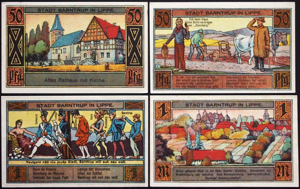 "BARNTRUP 1921 ""Topless Woman Dispensing Cornucopia of Notgeld"" complete Germany"