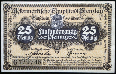 PRENZLAU ND-1920 25 Pf Series G circulating German Notgeld