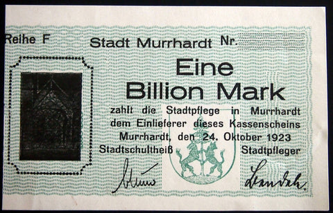 MURRHARDT 1923 *Uncataloged Specimen* 1 Trillion Mark German Notgeld Billion