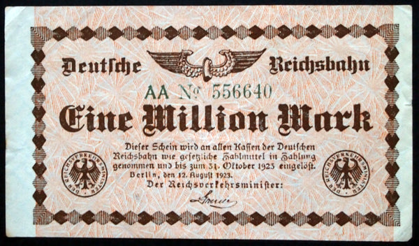 BERLIN REICHSBAHN 1923 1 Million Mark S1011 Railroad Inflation Notgeld Banknote Germany