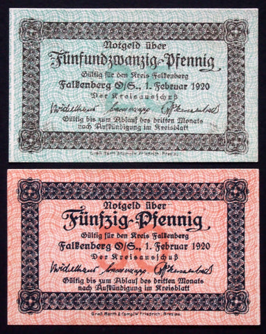 FALKENBERG 1920 complete set circulating Notgeld Upper Silesia Germany today Poland