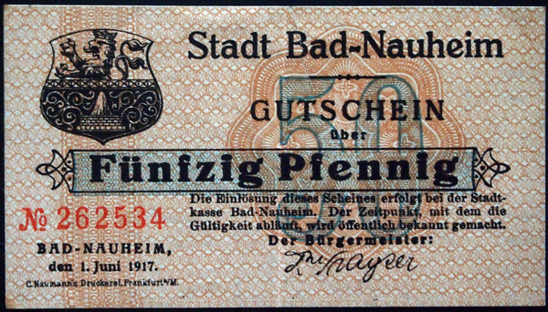 BAD NAUHEIM 1917 rarer horizontal serial 50 Pf German Notgeld