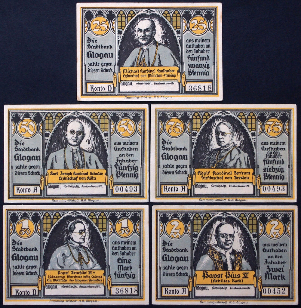 "GLOGAU 1922 ""Prince-Bishop's Boys' School"" complete set rare Notgeld Germany"
