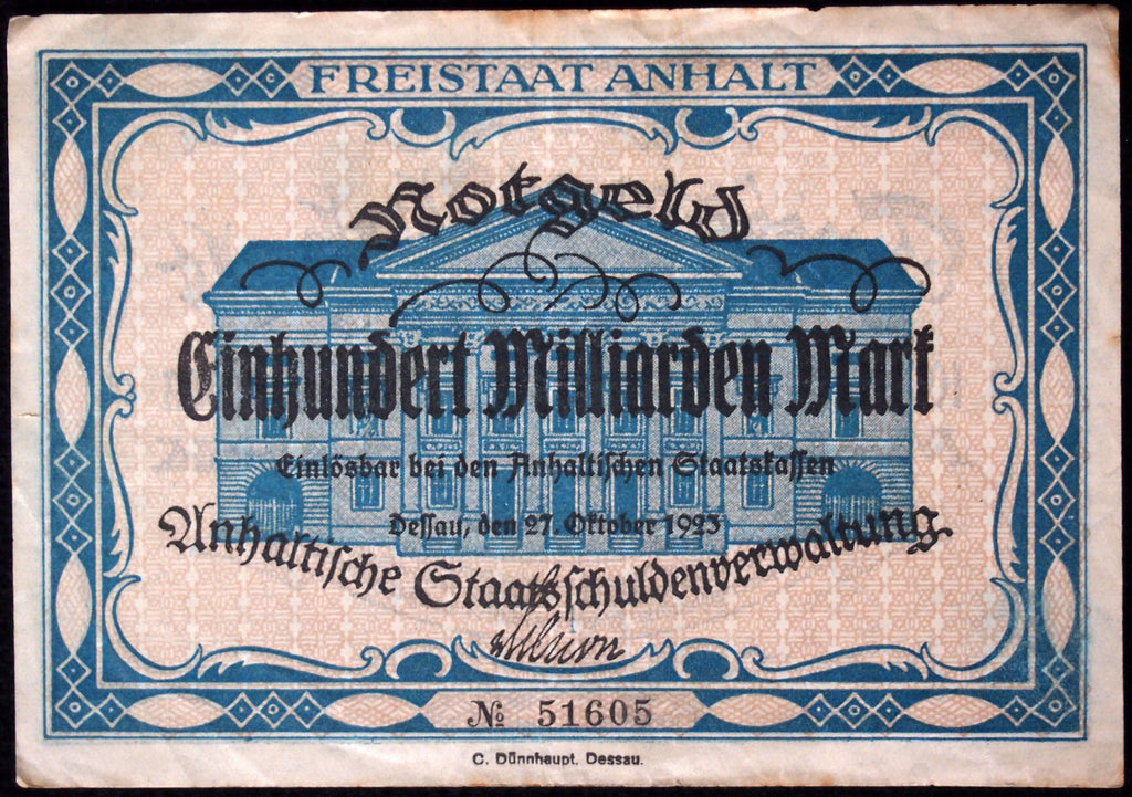ANHALT FREE STATE (DESSAU) very rare 100 Billion Mark Inflation Notgeld Germany