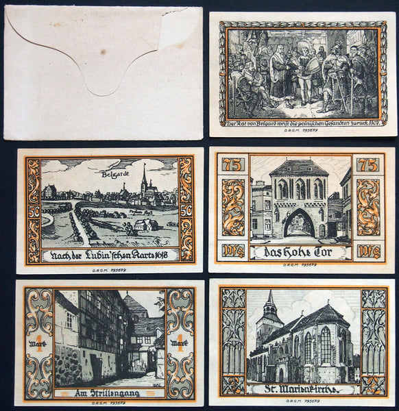 "BELGARD ""Views of Belgard Past & Present"" complete w/RARE envelope! Germany Notgeld"