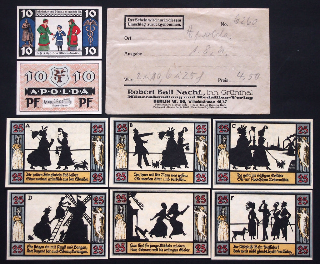 APOLDA 1921 2 diff. complete sets in RARE 1920s Robert Ball envelope! Notgeld Germany