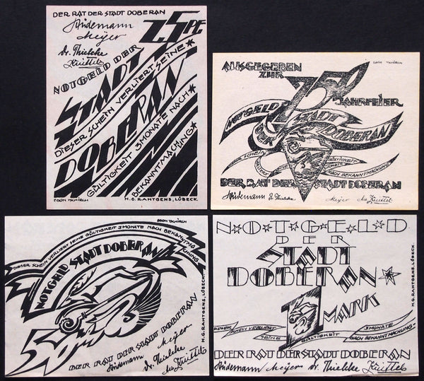 "BAD DOBERAN 1921 ""God and Satan"" striking artwork! complete set Germany Notgeld"