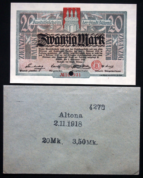 ALTONA 1918 20 Mark Grossnotgeld in RARE 1920s Robert Ball dealer envelope! German Notgeld