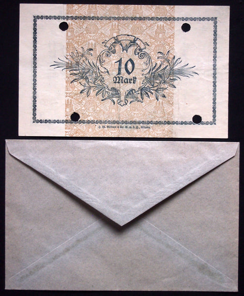 ALTONA 1918 10 Mark Grossnotgeld in RARE 1920s Robert Ball dealer envelope! German Notgeld