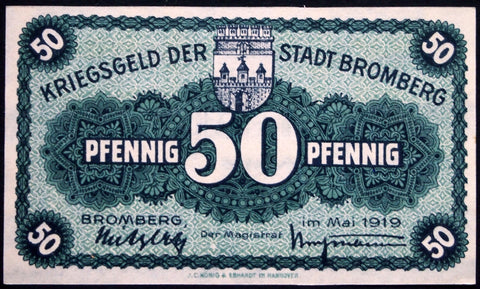 BROMBERG 1919 50 Pf circulating Notgeld Germany Posen today Poland